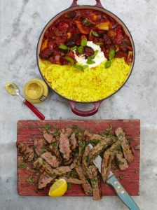 saffron - Grilled steak ratatouille & saffron rice