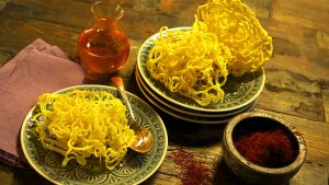 saffron - Saffron zoolbiya (deep-fried pastry with saffron sugar syrup)