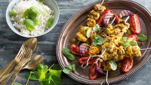 saffron - Chicken, lemon and saffron kebab (joojeh kabab)