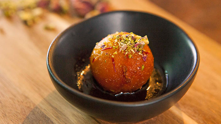 saffron - Gulab jamun (sticky saffron-flavoured dumplings)