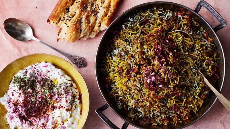 saffron - Herb Rice With Green Garlic , Saffron , And Crispy Shallots