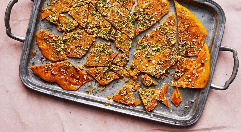 saffron - Saffron, Rose Water Brittle With Pistachios And Almonds